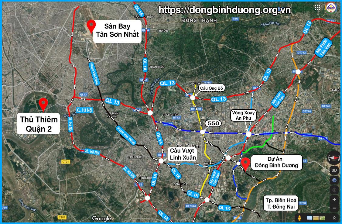 Vị trí dự án đông bình dương trên Google map